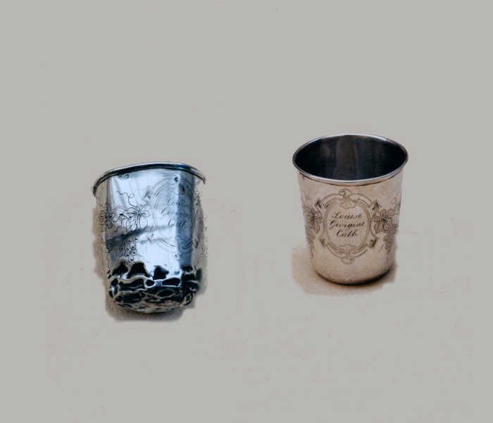 Antique silver christening mug