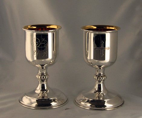 Silver communion goblets