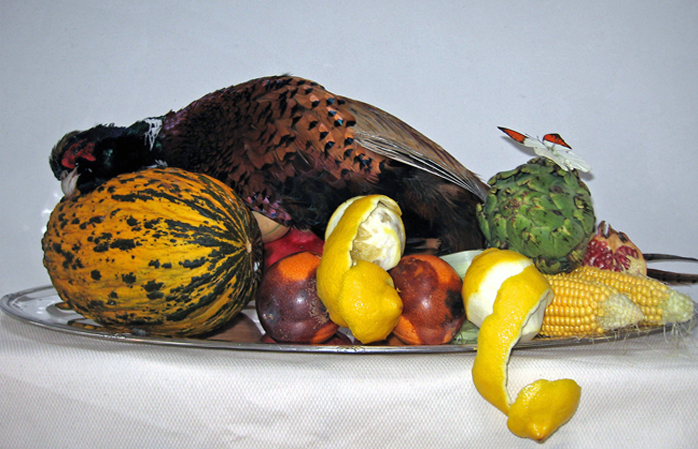 Still life with pheasant and fruit