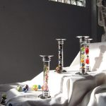 Silver and glass candlesticks