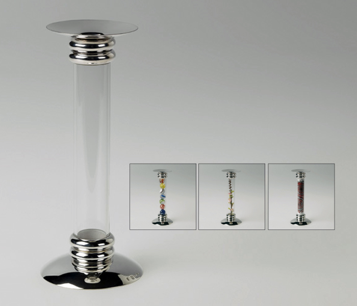 Silver and glass candlestick